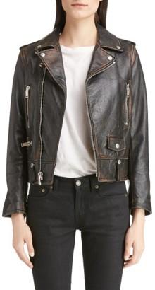 Women's Saint Laurent Back Logo Leather Biker Jacket $4,990 thestylecure.com