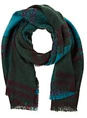 Barneys New York WOMEN'S PLAID BLANKET SCARF - GREEN