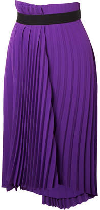 Balenciaga Asymmetric Pleated Crepe Midi Skirt - Purple