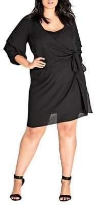 City Chic Plus Ruffle-Sleeve Crush Dress