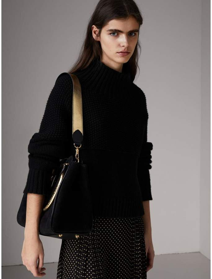 Burberry The Medium Buckle Tote in Suede and Snakeskin
