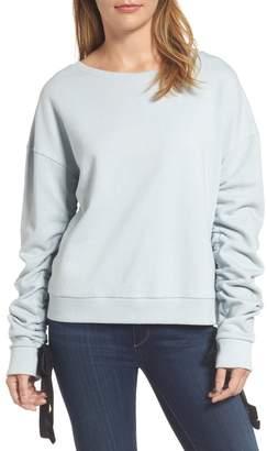 Halogen Ruched Tie Sleeve Sweatshirt (Regular & Petite)