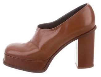 Celine Leather Squared-Toe Platform Pumps
