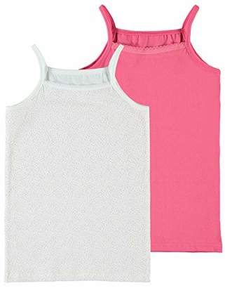Name It Girl's Nkfstrap Top 2p Geranium Pink Noos Vest, Multicolour (Rosa, (Size: 110) Pack of 2