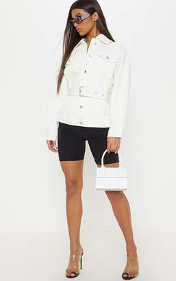 PrettyLittleThing White Buckle Waist Denim Jacket
