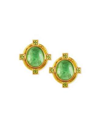 Elizabeth Locke Cab Boy & Bird Intaglio Clip/Post Earrings, Green