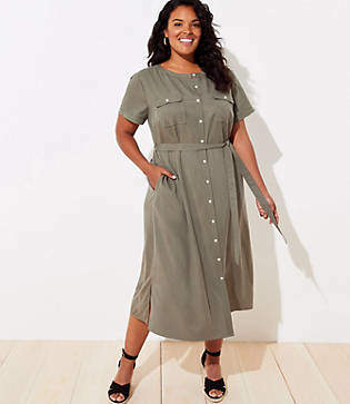 LOFT Plus Drapey Utility Shirtdress