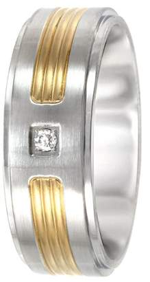 Unbranded Men's Stainless Steel 8MM Diamond Accent Two-Tone Wedding Band - Mens Ring
