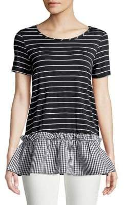 Design Lab Striped and Gingham Tee