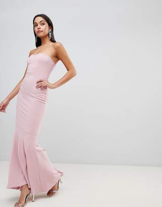 Asos DESIGN Crepe Bandeau Maxi Fishtail Dress
