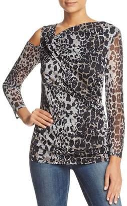 Love Scarlett Leopard Print Single Cold Shoulder Top