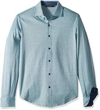 Bugatchi Men's Long Sleeve Knit Button Down Shirt