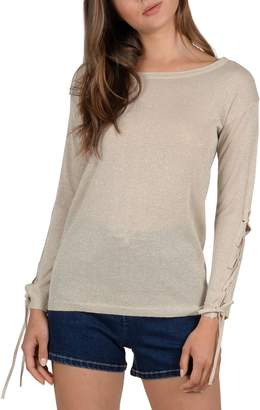 Molly Bracken Textured Lace-Up Sleeve Sweater