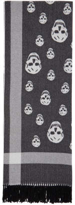 Alexander McQueen Black and Off-White Skull Scarf