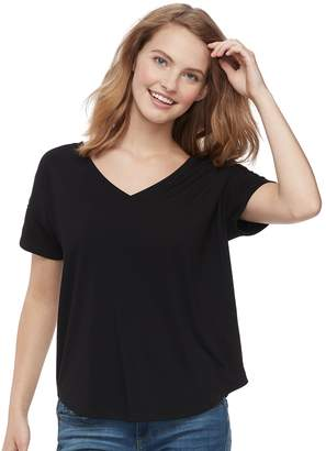 So Juniors' SO Lace-Up Shoulder Tee