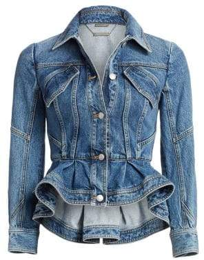 Alexander McQueen Women's Peplum Denim Jacket - Vintage Wash - Size 40 (4)