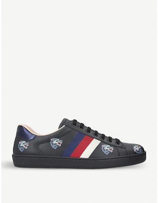 Gucci New Ace wolf-embroidered leather trainers