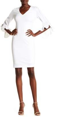 Calvin Klein V-Neck Ruffle Sleeve Knit Trim Sheath Dress