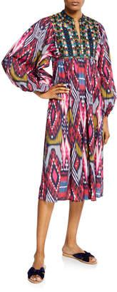 Figue Nora Beaded-Yoke Ikat Print Dress