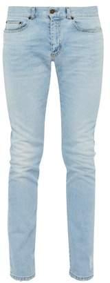 Saint Laurent Distressed Slim Leg Jeans - Mens - Blue