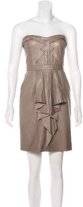 J. Mendel Strapless Leather Dress