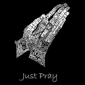 Blend of America LOS ANGELES POP ART Los Angeles Pop Art Men's Big & Tall Premium Word Art T-shirt - Prayer Hands