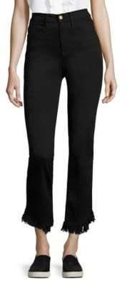 Frame Le High Denim Straight Jeans With Frayed Hem