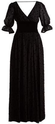 Valentino Silk Georgette & Velvet Jumpsuit - Womens - Black