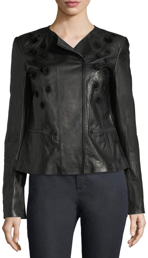 Lafayette 148 New York Caridee Floral-Applique Leather Jacket