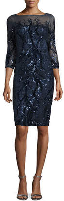 David Meister 3/4-Sleeve Embellished Sheath Dress, Navy