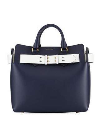 Burberry Marais Medium Belt Top Handle Bag, Navy