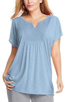 Just My Size Women's Plus-Size Slub Crochet Bib Tunic