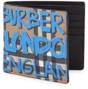 Burberry Graffiti Vintage Check Leather Bi-Fold Wallet