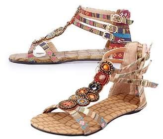 Sanwood Women Summer Bohemian Style Zipper Flats Shoes Beading Casual Open Toe Sandals