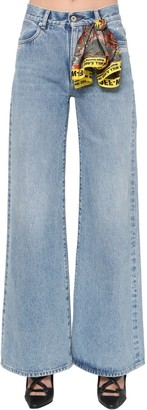 Off-White Off White Cropped Wide Leg Cotton Denim Jeans