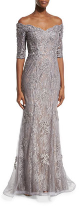 La Femme Off-the-Shoulder Embroidered Tulle Gown, Pink/Gray $598 thestylecure.com