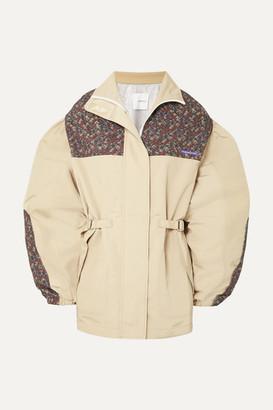 BEIGE Pushbutton - Oversized Printed Gabardine Jacket