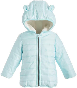 First Impressions Baby Boys Fur-Lined Hooded Bear Puffer Jacket