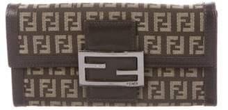 Fendi Leather-Trimmed Zucchino Wallet