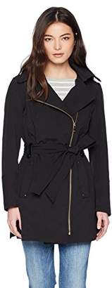 Via Spiga Women's Petite Double Breasted Hooded Fit and Flare Lightweight Trench Coat