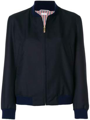 Thom Browne Engineered Stripe Wool Varsity Jacket