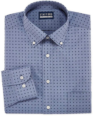 STAFFORD Stafford Chambray Stretch Easy-Care Big And Tall Long Sleeve Broadcloth Pattern Dress Shirt