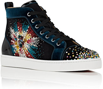ef05a414f Christian Louboutin Men s Louis On Fire Suede High-Top Sneakers - ShopStyle