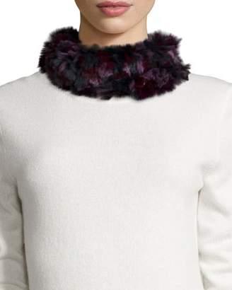 Glamour Puss Glamourpuss NYC Knitted Rabbit Fur Funnel Scarf, Burgundy Camo