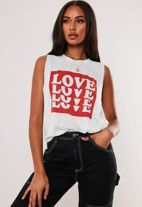 Missguided White Drop Armhole Love Graphic Graphic Tank Top
