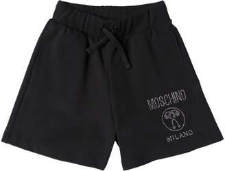 Moschino Crystal Logo Cotton Sweat Shorts