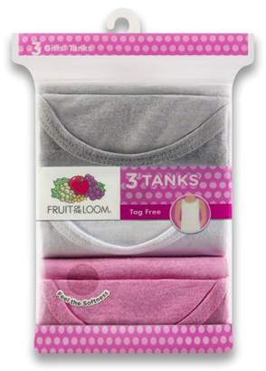 Fruit of the Loom Assorted Layering Tank Undershirts, 3 Pack (Little Girls & Big Girls)