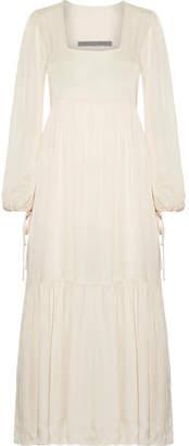 Raquel Allegra Empire Tiered Satin-jersey Maxi Dress - Ivory