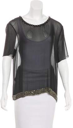 Isabel Marant Sequined Sheer Silk Top