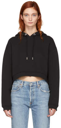Alexander Wang Black Dense Fleece Cropped Hoodie